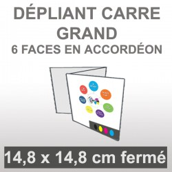 Dépliant carré grand 6 faces en accordéon