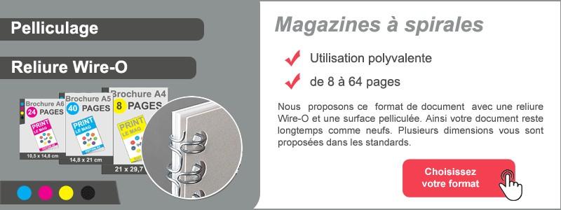 Magazines avec reliure à spirales