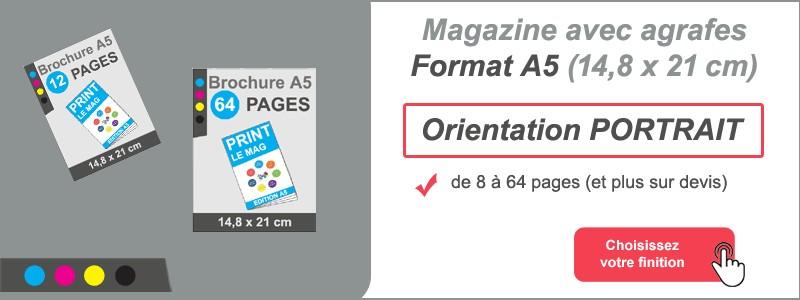 Magazine brochure agrafes A5 portrait