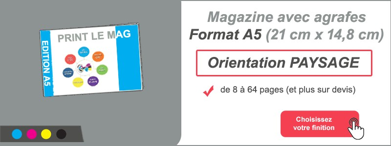 Magazine brochure agrafes A5 paysage