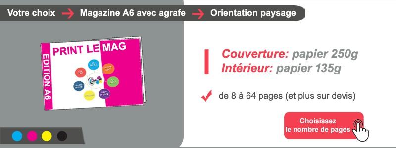 Magazine A6 paysage couv 250g + intérieur papier 135g