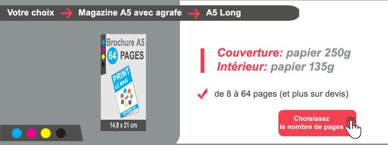 Magazine A5 Long papier couv 250g intérieur 135g